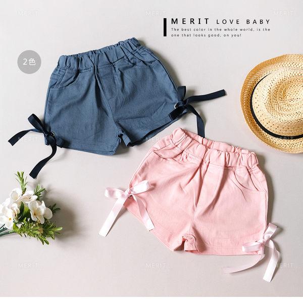 甜美側邊蝴蝶結綁帶口袋平織褲 可愛 短褲 緞帶 女童 哎北比童裝