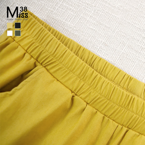 Miss38-(現貨)【A05700】大尺碼內搭褲 七分褲 熱銷百搭 顯瘦多色素面打底褲 鬆緊腰有口袋 -中大尺碼