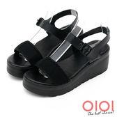 楔型涼鞋 率性自我一字楔型涼鞋(黑) *0101shoes 【18-755bk】【現貨】