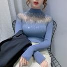 長袖針織上衣 秋冬鏤空燙鉆半高領打底衫修身內搭針織衫毛衣女DC12依佳衣
