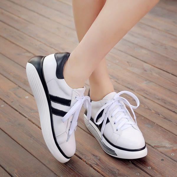 2017春季新款休閒鞋平底單鞋內增高小白鞋系帶學院單鞋鞋真皮女鞋 -1092491002