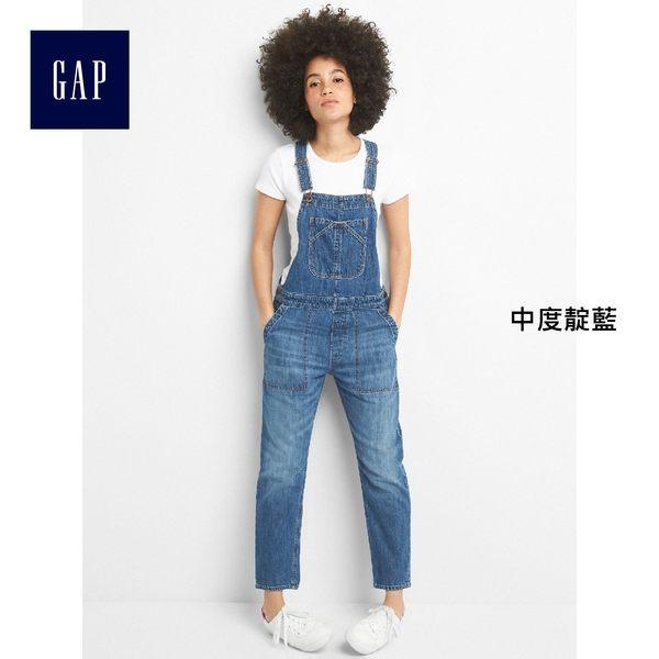 Gap女裝 寬鬆舒適純棉牛仔吊帶褲 256628-中度靛藍