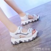 涼鞋夏天女士老爹涼鞋女年新款百搭網紅女鞋厚底鬆糕休閒鞋子