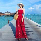 *花漾e裳*洋裝【夏季性感海邊度假蕾絲拼接沙灘洋裝】
