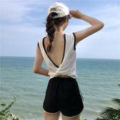 夏季女裝新品正韓性感V字露背小背心撞色無袖T恤少女露臍裝上衣潮