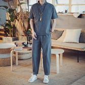 中國風改良漢服男古風短袖套裝民族服飾唐裝夏季兩件套道袍古裝男 熊貓本