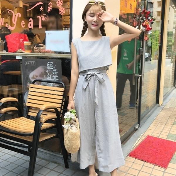 [超豐國際]夏季細條紋假兩件連體褲吊帶背心連衣九分闊腿褲女潮1入