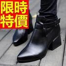女短筒靴真皮低跟-韓流魅力經典女馬丁靴子1色62d73【巴黎精品】