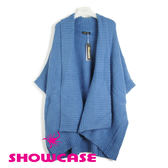 【SHOWCASE】大翻領落肩寬版針織罩衫(藍)-冬季保暖