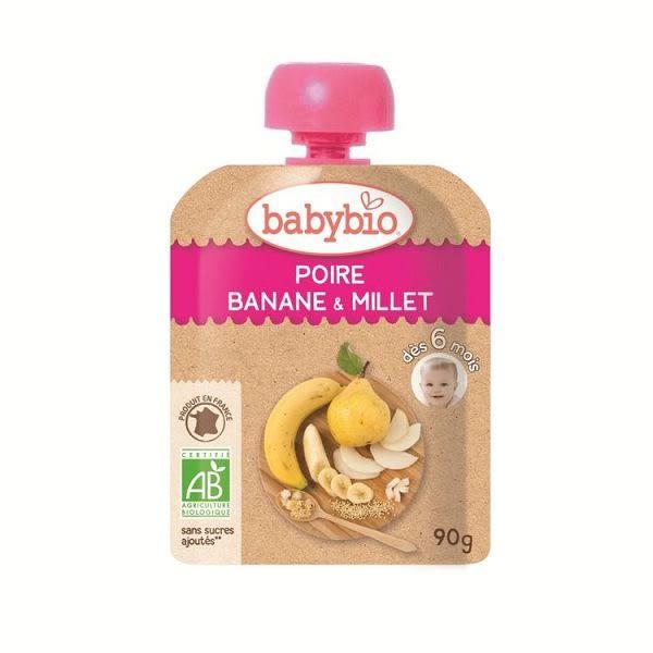BABYBIO 有機洋梨小米纖果泥90g-法國原裝進口6個月以上嬰幼兒專屬副食品