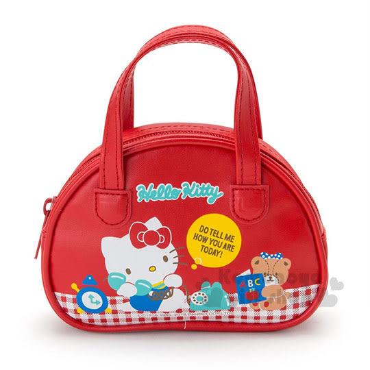 〔小禮堂﹞Hello Kitty 迷你皮質收納提包《紅.打電話.波士頓包》懷舊經典圖樣 4901610-94757
