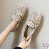 豆豆鞋  羊羔毛豆豆鞋2019新款平底秋季百搭網紅加絨毛毛鞋女冬外穿一腳蹬 點點服飾