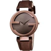 GUCCI 古馳 Interlocking 時尚元素女錶-玫塊金x咖啡/29mm YA133504