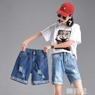 五分牛仔褲 鬆緊腰女牛仔褲短褲夏季寬鬆顯瘦彈力五分褲大碼破洞馬褲闊腿 韓菲兒