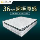 ASSARI-雪麗比利時乳膠正三線加厚36cm獨立筒床墊(雙大6尺)