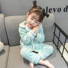 兒童睡衣女童法蘭絨1一3-5歲寶寶套裝珊瑚絨休閒洋氣家居服兩件套