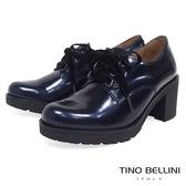 Tino Bellini 西班牙進口珠光元素綁帶粗跟鞋 _ 炫光藍 A79021A 歐洲進口款