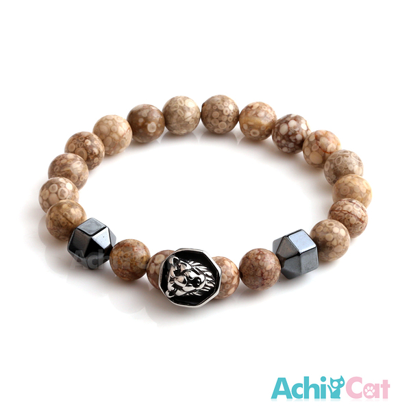 AchiCat 手鍊 串珠手鍊 虎膽龍威 黑膽石 瑪瑙手鍊 獅頭手鍊 珠珠彈性手環 G款 H8069