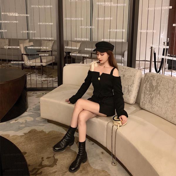 VK旗艦店 韓系拼接絲絨肩帶性感長袖單品外套