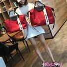 旅行袋旅行包女外出時尚輕便裝衣服袋子短途出行手提袋旅游包小型行李包 JUST M