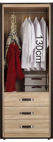 【森可家居】溫蒂2.5尺橡木紋三抽衣櫃 7JF051-4 衣櫥 木紋質感 北歐工業風 MIT台灣製造