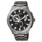 CITIZEN 黑鋼時尚光動能萬年曆腕錶/BL8097-52E