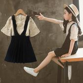 女童夏裝套裝新款韓版時尚時髦中大兒童夏季洋氣背帶裙兩件套 草莓妞妞