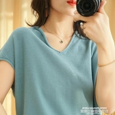 v領針織衫2020新款棉麻純色T恤女V領短袖寬鬆顯瘦休閒半袖針織上衣女裝夏 萊俐亞