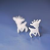 耳環 925純銀-拉絲麋鹿情人節生日禮物女飾品73gk163【時尚巴黎】