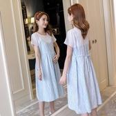 孕婦夏裝洋裝2020時尚新款哺乳衣夏季月子服夏天中長款過膝裙子 滿天星
