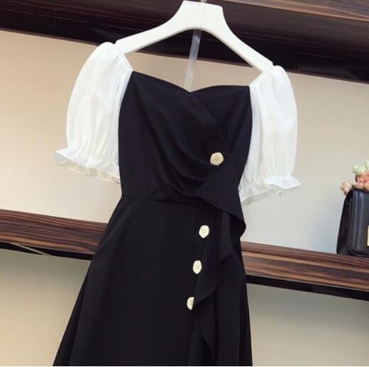 洋裝拼接裙中大尺碼L-4XL新款大碼顯瘦荷葉邊泡泡袖連身裙4F092-2222.一號公館