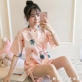 睡衣女夏季冰絲短袖薄款兩件套裝日系和服大碼胖mm夏天寬松家居服 創意家居生活館
