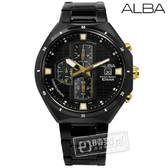 ALBA / VD57-X087SD.AM3403X1 / 酷勁耶誕限量款計時日期不鏽鋼手錶 鍍黑 46mm