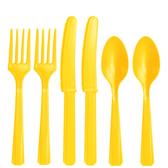 塑膠刀叉匙24入-日光黃