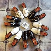 方頭鞋 復古方頭珍珠跟粗跟小皮鞋英倫風懶人半拖鞋女包頭涼鞋子  『魔法鞋櫃』