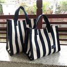 便當包丨韓版條紋手提袋大號購物袋大容量防水飯盒袋媽咪包學生手拎帆布袋 【618特惠】