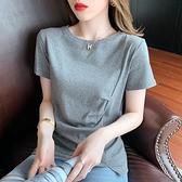 短版上衣 短t 7969#褶皺不規則純色短袖女時尚t恤女短袖上衣NE02.胖丫