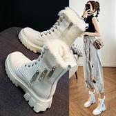 短靴 內增高馬丁靴女鞋子2021年新款秋冬季百搭英倫風短靴加絨雪地棉鞋 維多原創