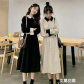 春季韓版chic復古氣質高腰顯瘦中長款純色長袖連身裙長裙女士裙子『艾麗花園』