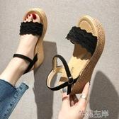 新品鬆糕鞋涼鞋女仙女風夏季新韓版百搭高跟鬆糕厚底一字帶羅馬鞋潮 芊墨左岸
