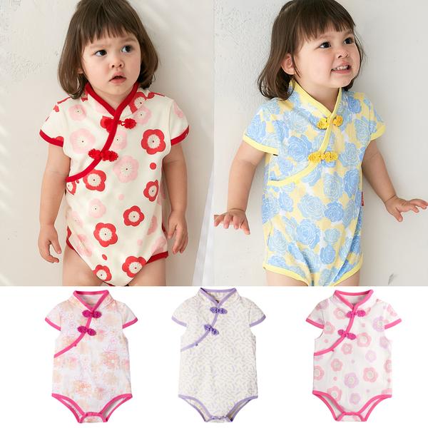 短袖包屁衣 中國風 斜襟 花朵 旗袍式 女寶寶 Augelute Baby 60321