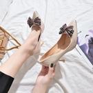 高跟鞋—秋季新款百搭尖頭淺口軟面皮鞋女士甜美蝴蝶結細跟單鞋高跟鞋 依夏嚴選