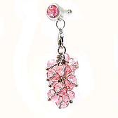 時尚粉紅水晶葡萄串手機防塵塞吊飾