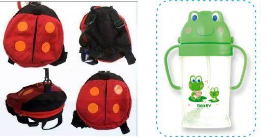 DOOBY 大眼蛙卡通神奇喝水杯250CC+小瓢蟲-幼兒防走失背包【TwinS伯澄】