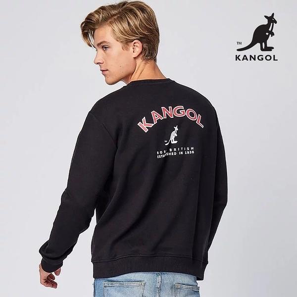 KANGOL 袋鼠 - 背後彎彎LOGO大學T 黑色【60551015】