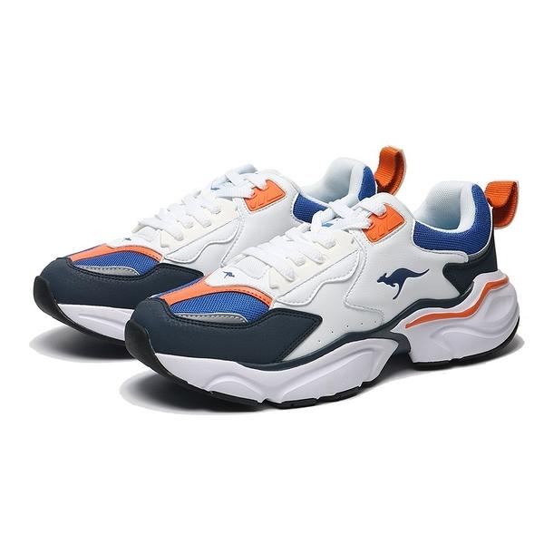 KANGAROOS 休閒鞋 SWING 白藍橘 皮革 厚底 復古 老爹鞋 男 (布魯克林) KM01076