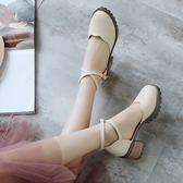 甜美包頭涼鞋女復古粗跟淺口鞋綁帶百搭淑女【不二雜貨】