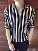 條紋短袖襯衫男韓版潮流帥氣網紅五分5分袖襯衣男士寬松夏季襯衫 依凡卡時尚