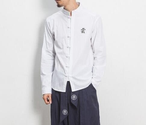 找到自己 MD 日系 潮 男 休閒簡約 亞麻 雲字刺繡 襯衫 長袖襯衫 特色襯衫