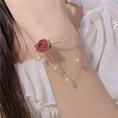 手鐲 法式復古小眾設計感森系超仙天然淡水珍珠永生花真花朵手鍊女手鐲 美物居家 免運